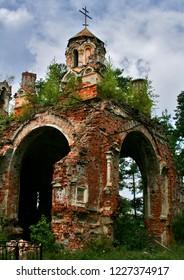 Russia. Leningrad region. Luga. Ruined Church of St. Nicholas. 2006 year
