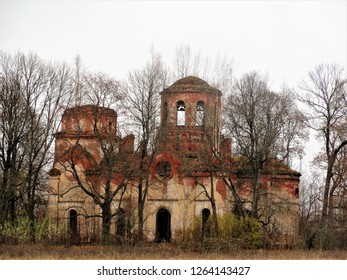 Russia Leningrad region October 24, 2018. Luga district village Yugostitsy. Church of the Intercession of the Blessed Virgin. The picture was taken on October 24, 2018.