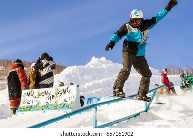 RUSSIA, MAGNITOGORSK - August 29, 2016: Snowboarder in jump competitions
