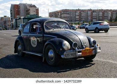 Russia, Magnitogorsk, - June, 20, 2019. Retro car old Volkswagen Beetle rides through the streets of the city. Vintage.