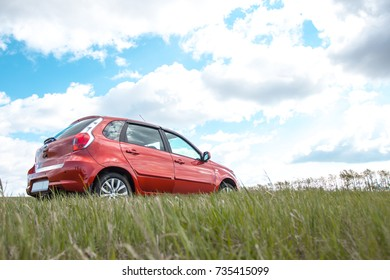 RUSSIA, MAGNITOGORSK - twenty sixth of August, two thousand and fifteenth year : Test drive a car datsun mi-do, on a sandy wasteland