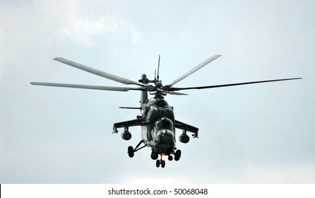 RUSSIA, MAKS - AUGUST 26: MI-24  military helicopter performing aerobatic elements at MAKS  aviation salon August 26, 2007 in Zhukovski, Russia