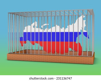 Russia map with flag image in a metal cell with the inscription sanctions