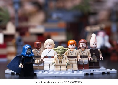RUSSIA, May 16, 2018. Constructor Lego Star Wars. Jedi, Members of the High Council, Mace Windu, Yoda, Obi-Wan Kenobi, Ki-Adi-Mundi, Qui-Gon Jinn