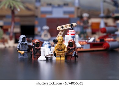 RUSSIA, May 16, 2018. Constructor Lego Star Wars. Episode IV, Protocol Droid C3-PO and astromechanics R2-D2