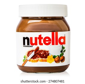 RUSSIA - MAY 4, 2015 Editorial photo of Nutella hazelnut spread jar on white background . RUSSIA - MAY 4, 2015
