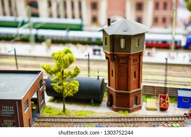 Russia in miniature Grand Layout in St. Petersburg, January 19, 2019, mini copies of people and roads and cars.