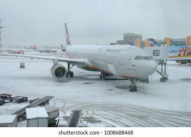 RUSSIA - Moscow, 11 Janyary 2018: Aeroflot aircraft preparing for flight at Sheremetyevo Airport