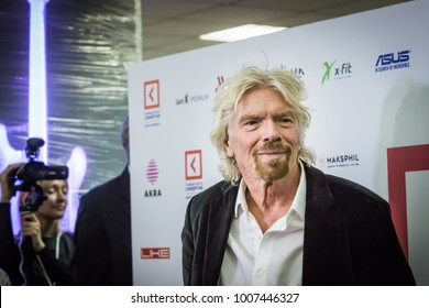 Russia, Moscow, 11.27.2017 An English business magnate, investor and philanthropist, the founder of the company «Virgin Group», Richard Charles Nicholas Branson on Synergy Global Forum in Moscow