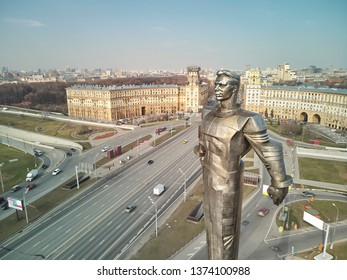 Russia, Moscow - 12 april 2019. Gagarin Square. Monument to the first cosmonaut Yuri Gagarin. Aerial drone panorama view