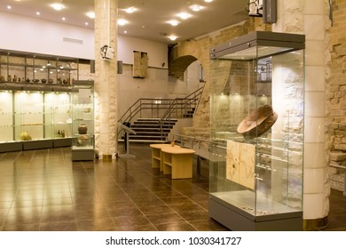 Russia, Moscow, 12.12.2017: The Moscow Archeology Museum. Archaeological finds, exhibits of the museum.