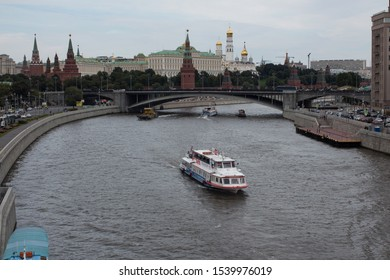 RUSSIA, MOSCOW - 14 AUGUST 2016. Motor ship on the Moscow river