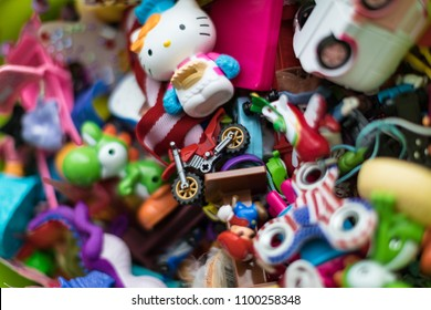 Russia, Moscow - 17, December, 2017. A lot of children's toys. Multicolored children's toys are boxed. Many different bright children's toys.