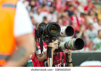 RUSSIA, MOSCOW, 19 AUGUST 2017: photographers at the football match Spartak Moscow-Locomotive Moscow. Photojournalism
