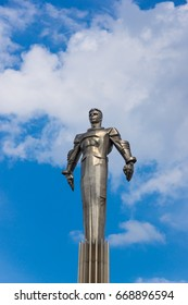 Russia, Moscow, 2013 - Monument to Yuri Gagarin, the first Russian cosmonaut. monument on the background of blue sky with clouds.