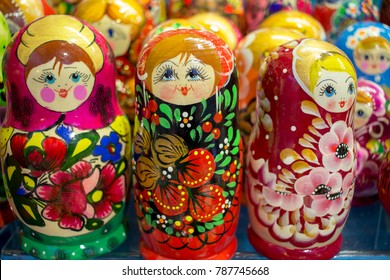 "Russia, Moscow, 21.12.2018: Traditional russian ""matryoshkas"" (nesting dolls) in Moscow street souvenir shop"