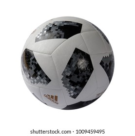 RUSSIA, MOSCOW, 22 JANUARY 2018: The official ball of the World Cup 2018 Adidas Telstar, isolate on white background