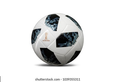 RUSSIA, MOSCOW, 22 JANUARY 2018: The official ball of the World Cup 2018 Adidas Telstar Ball, isolate on white background