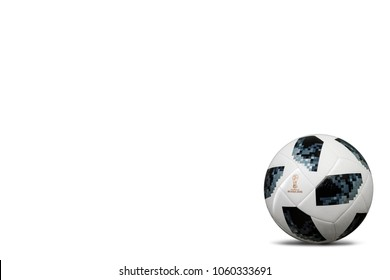 RUSSIA, MOSCOW, 22 JANUARY 2018: The official ball of the World Cup 2018 Adidas Telstar Ball, isolate on white background Copy space for you text