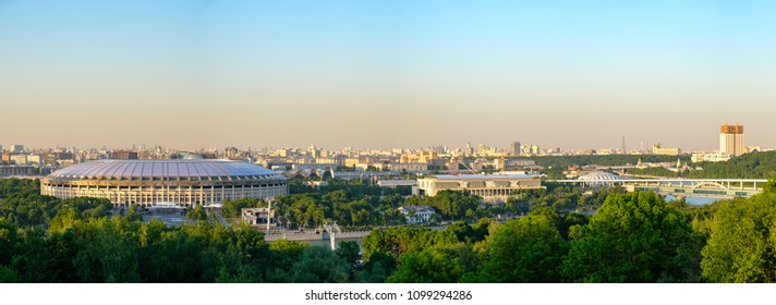 """Russia. Moscow. 26/05/18 - Panoramic view of Moscow and the big sports arena of the Olympic complex """"Luzhniki""""."""