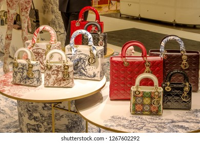 Russia, Moscow, 26.12.2018: Kuznetsky Most.  Luxury store Dior in TSUM.  Dior shopping.