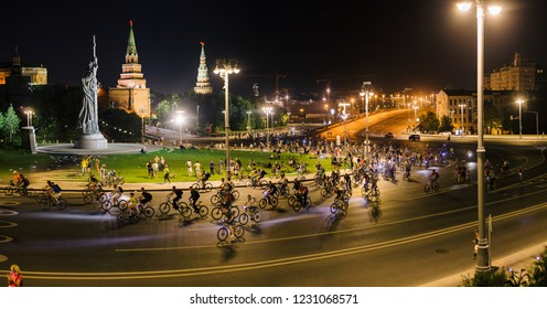 Russia, Moscow - 4 August, 2018: You can see a lot of riders on the Moscow Night Bicycle Parade.