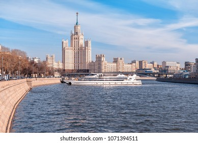 Russia, Moscow - April 05, 2018: The ship of the Radisson flotilla and the skyscraper on the Kotelnicheskaya embankment, Moscow