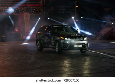 RUSSIA, MOSCOW - APRIL 1, 2017: International stunt driver and multiple world record holder  Terry Grant at the 10 festival of extreme sports in the Olympic Sports Complex