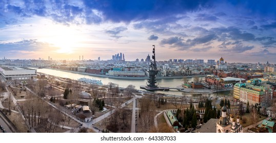 RUSSIA, MOSCOW- APRIL 11, 2017: wide angle aerial panorama of Moscow city center, Moscow River, monument to Peter I, The Cathedral of Christ the Savior, Brusov ship and Museon park