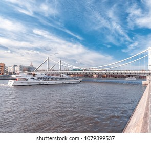 Russia, Moscow - April 19, 2018: The Ship of the Flotilla Radisson at the Crimean Bridge in Gorky Park, Moscow