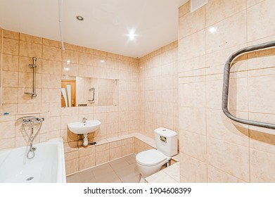 Russia, Moscow- April 22, 2020: interior room apartment modern bright cozy atmosphere. general cleaning, home decoration, preparation of house for sale. modern bathroom, sink, decor elements, toilet