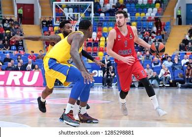 Russia. Moscow. Arena Megasport. January 11, 2019 ã. Nando de Colo (right) during the Euroleague basketball match 2018/2019 between CSKA (Russia) vs Maccabi (Israel)