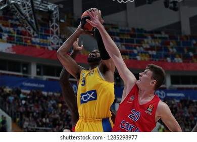 Russia. Moscow. Arena Megasport. January 11, 2019 ã. Johnny O'Bryant and Andrey Vorontsevich during the Euroleague basketball  match 2018/2019 between CSKA (Russia) vs Maccabi (Israel)