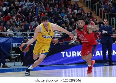 Russia. Moscow. Arena Megasport. January 11, 2019 ã. Yovel Zoosman and Daniel Hackett during the Euroleague basketball match 2018/2019 between CSKA (Russia) vs Maccabi (Israel)