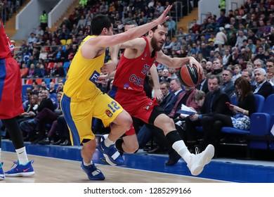 Russia. Moscow. Arena Megasport. January 11, 2019 ã. John DiBartolomeo and Sergio Rodriguez during the Euroleague basketball match 2018/2019 between CSKA (Russia) vs Maccabi (Israel)