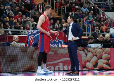 Russia. Moscow. Arena Megasport. January 11, 2019 ã. Andrey Vorontsevich and coach Dimitris Itoudis during the Euroleague basketball match 2018/2019 between CSKA (Russia) vs Maccabi (Israel)