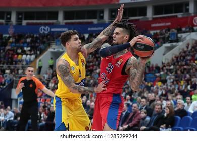 Russia. Moscow. Arena Megasport. January 11, 2019 ã. Scottie Wilbekin and Daniel Hackett during the Euroleague basketball match 2018/2019 between CSKA (Russia) vs Maccabi (Israel)
