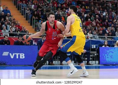 Russia. Moscow. Arena Megasport. January 11, 2019 ã. Nikita Kurbanov and Angelo Caloiaro during the Euroleague basketball match 2018/2019 between CSKA (Russia) vs Maccabi (Israel)
