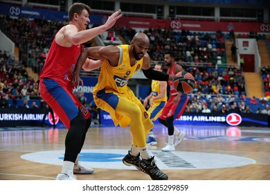 Russia. Moscow. Arena Megasport. January 11, 2019 ã. Andrey Vorontsevich and Alex Tyus during the Euroleague basketball match 2018/2019 between CSKA (Russia) vs Maccabi (Israel)