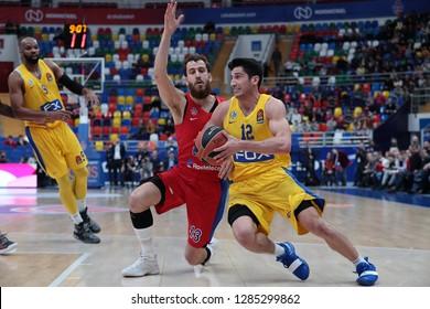 Russia. Moscow. Arena Megasport. January 11, 2019 ã. Sergio Rodriguez and John DiBartolomeo during the Euroleague basketball match 2018/2019 between CSKA (Russia) vs Maccabi (Israel)
