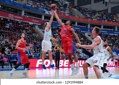 Russia. Moscow. Arena Megasport. January 17, 2019. Petteri Koponen and Kyle Hines during the Euroleague basketball match 2018/2019 between CSKA (Russia) vs Bayern (Germany)
