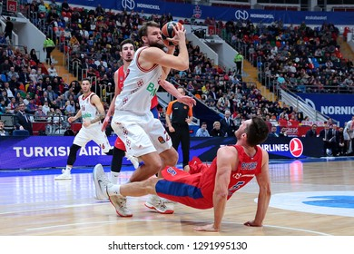 Russia. Moscow. Arena Megasport. January 17, 2019. Danilo Barthel and Alec Peters during the Euroleague basketball match 2018/2019 between CSKA (Russia) vs Bayern (Germany)