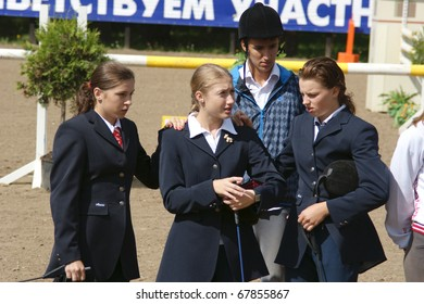 """RUSSIA, MOSCOW - AUG 8: Sportsmen compete in equestrian sport """"Youthful competitions on concur"""" August 8, 2009 in Moscow, Russia"""