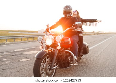 Russia, Moscow - August 10, 2018: girl on a motorcycle