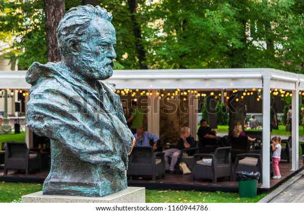 RUSSIA, MOSCOW - AUGUST 19, 2018: Bust of Victor Marie Hugo in the Hermitage Garden