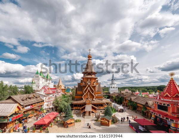 """Russia, Moscow - August 27, 2017: The Kremlin in Izmailovo. """"Russian Compound"""" - the central square of the Izmailovo Kremlin. Church of St. Nicholas"""