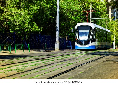 Russia, Moscow, August 5, 2018, tram rides on a narrow street, editorial