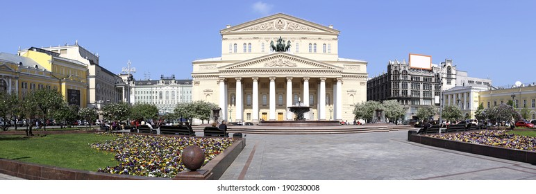 Russia. Moscow. Bolshoi Theatre and the area in front of him. Panorama. May 11, 2012