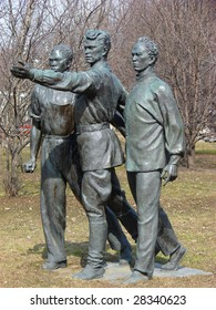"""Russia, Moscow. City park Muzeon.      Monument under the name we """"Demand the world"""""""