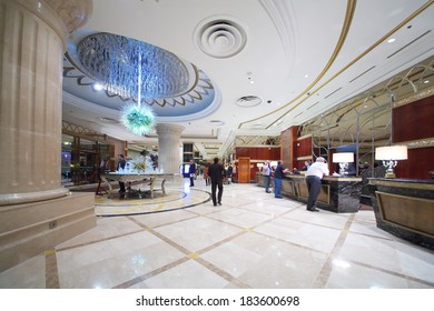 RUSSIA, MOSCOW - DEC 11, 2013: Reception with a futuristic chandelier in Lotte Plaza Hotel.